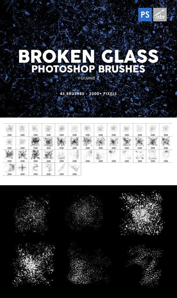 Broken Glass Photoshop Brushes Vol. 2