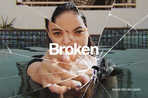 Broken glass photo effect template Premium Psd