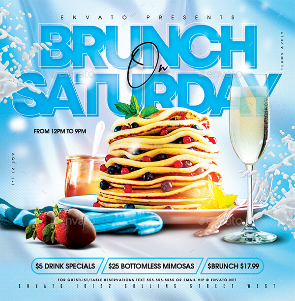 Brunch On Saturday Flyer Template (1)