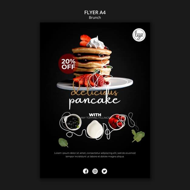 Brunch restaurant design flyer template Free Psd