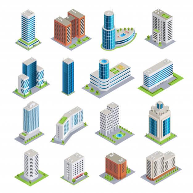 Buildings isometric set Free Vector