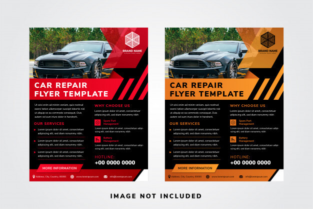 Car repair flyer template designs with space for photo collage on top. Premium Vector
