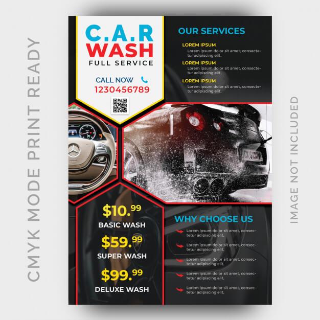 Car wash business flyer design template Premium Psd