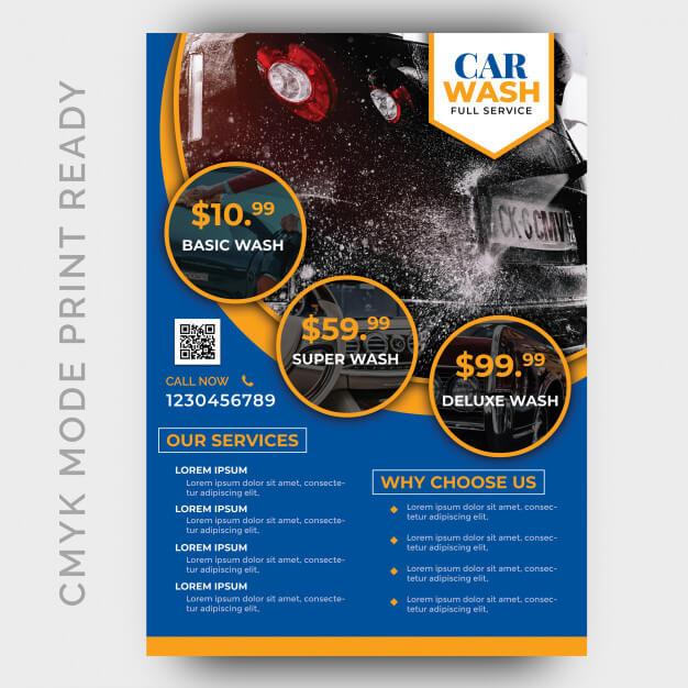 Car wash business flyer design template Premium Psd1