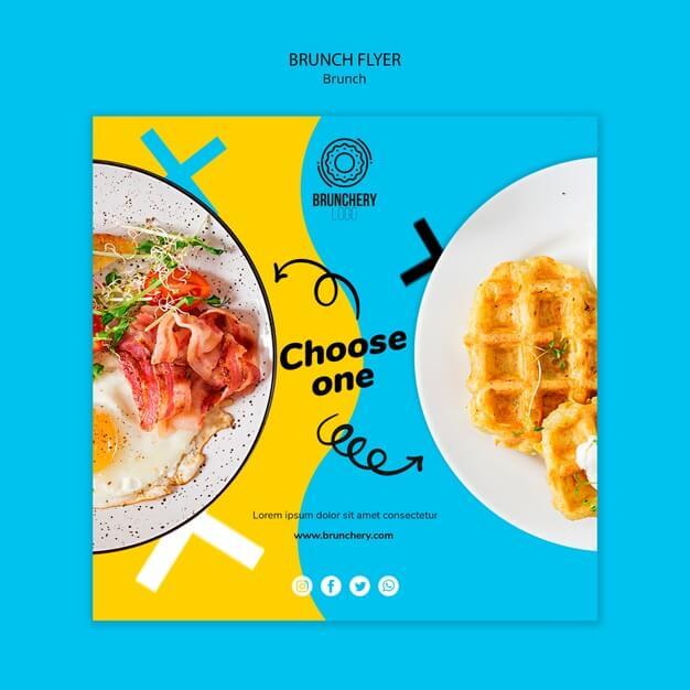 Choose one brunch flyer Free Psd