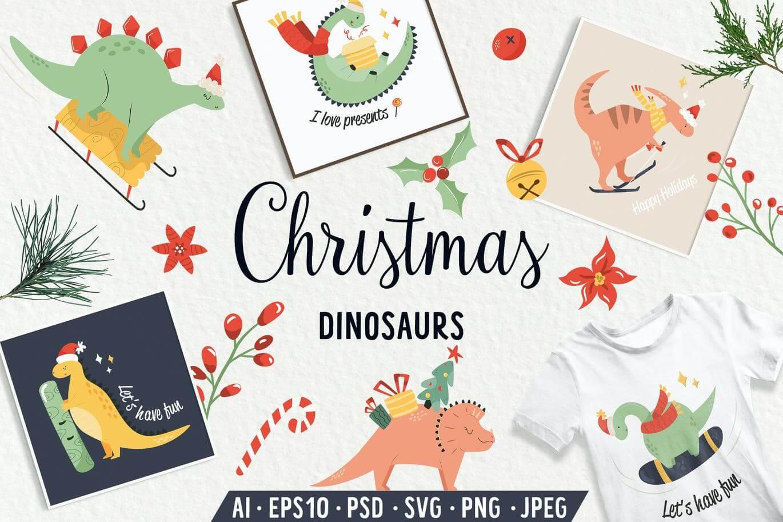 Christmas Dinosaurs. Prints, Patterns, Icons.