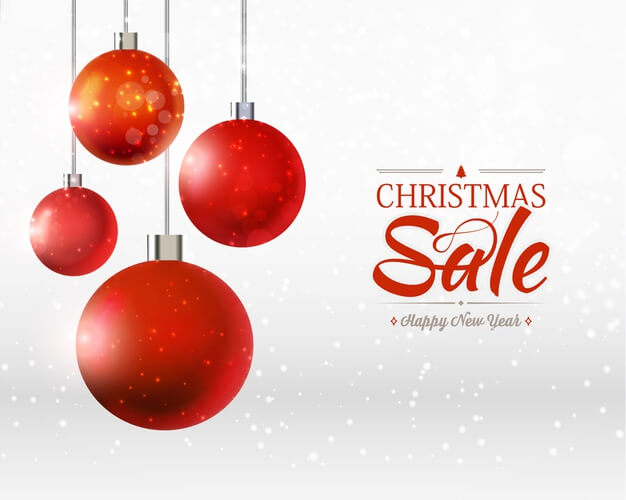 Christmas and happy new year sale template with four balls ornaments, ribbons on the grey and white Free Vector