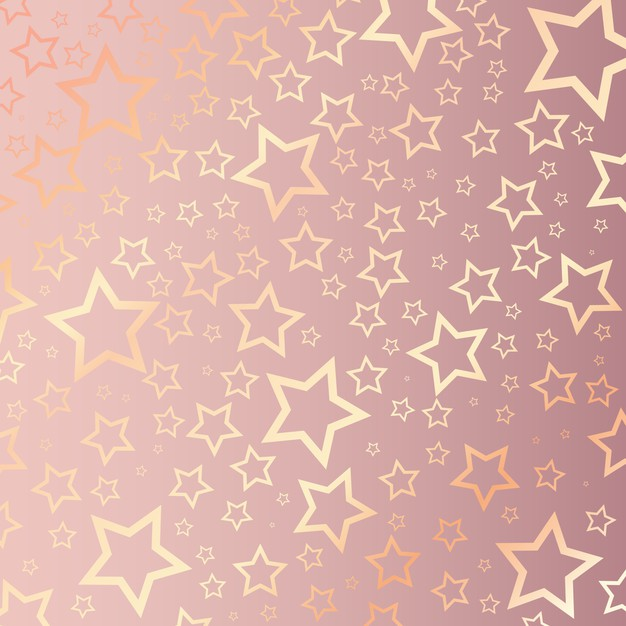 Christmas background with starry pattern on rose gold Free Vector