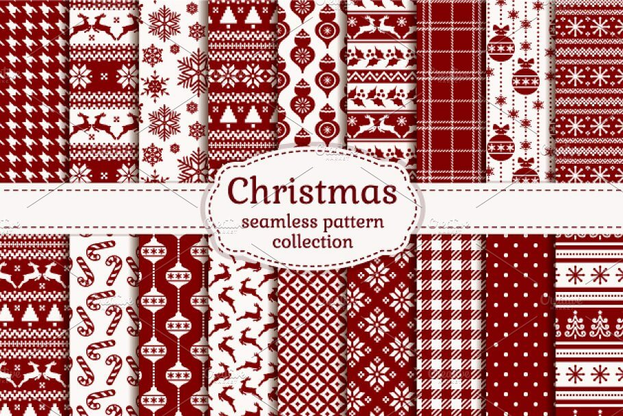 Christmas seamless pattern set.