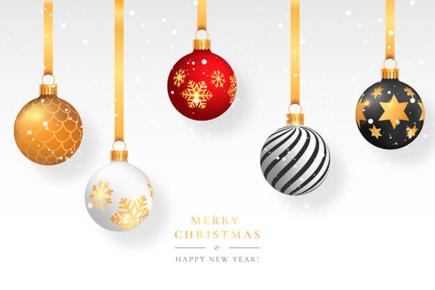 Christmas snowy background with elegant balls Free Vector