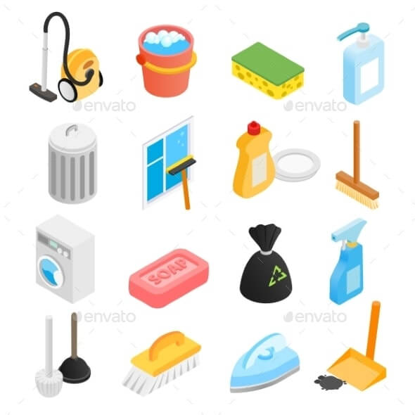 Cleaning Isometric 3d Icons