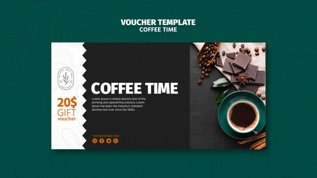 Coffee and chocolate time voucher template Free Psd (1)