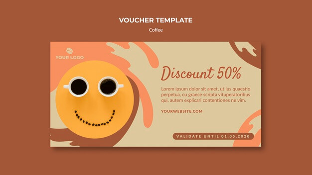 Coffee concept voucher template mock-up Free Psd (1)