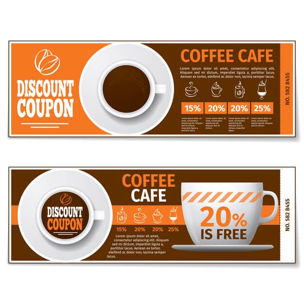 Coffee discount coupon or gift voucher. (1)