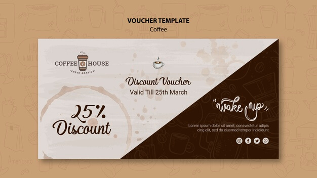 Coffee shop voucher template Free Psd (1)