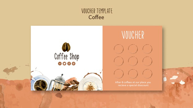 Coffee theme for voucher template Free Psd (1)