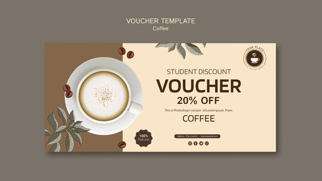 Coffee voucher template with discount Free Psd (1)