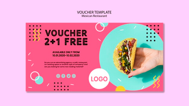 Colorful mexican restaurant voucher template Free Psd (1)