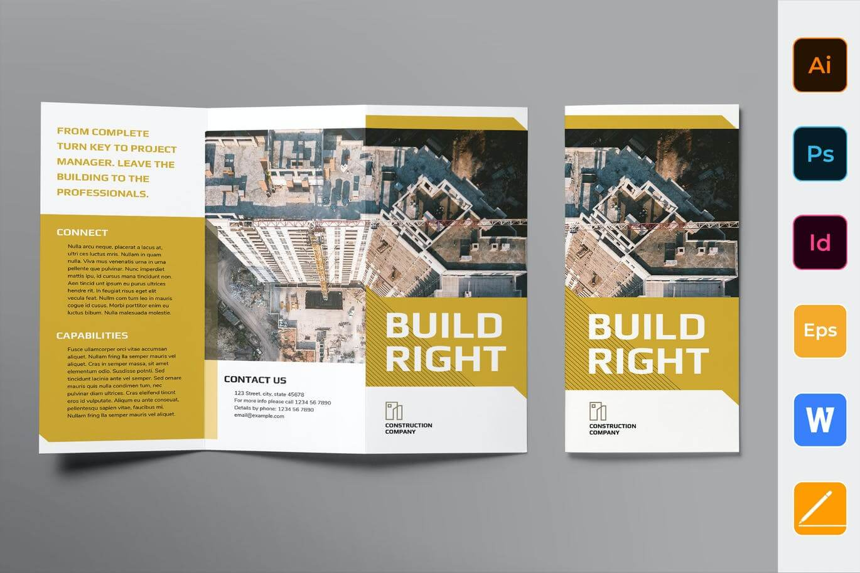 Construction Company Brochure Trifold