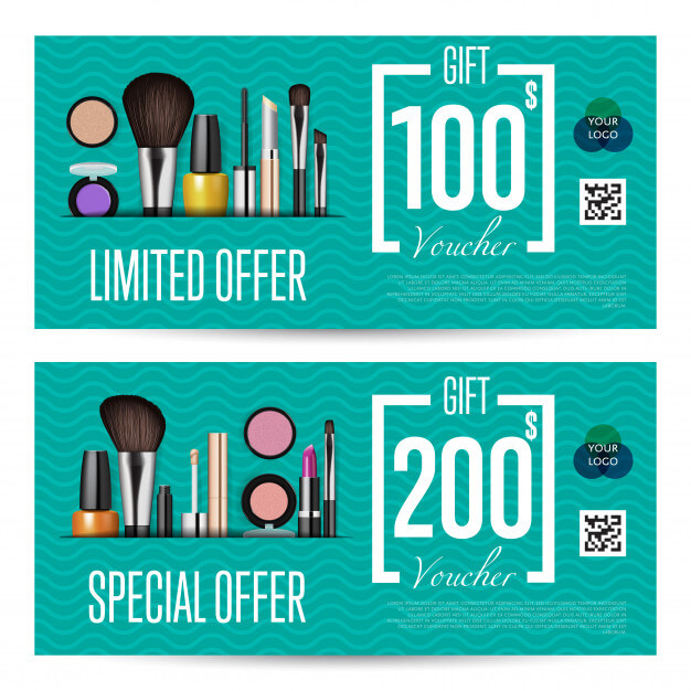 Cosmetics gift vouchers with prepaid sum template Premium Vector