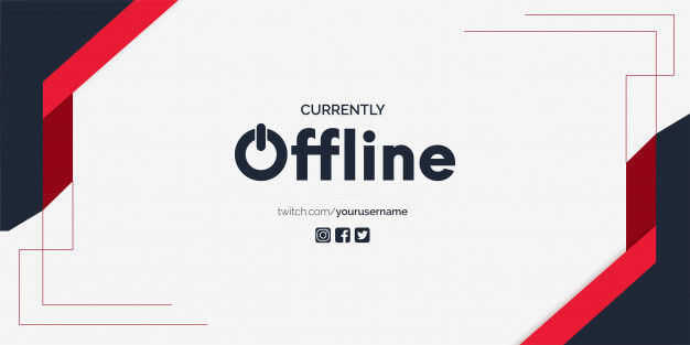 Currently offline twitch banner background vector template Free Vector (2)