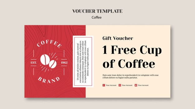 Delicious coffee voucher template Free Psd (1)