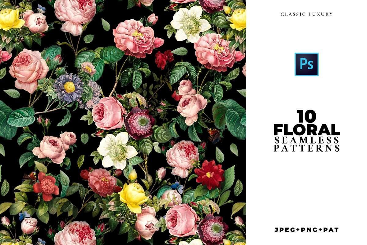 ELEGANT 10 Seamless Flower Patterns