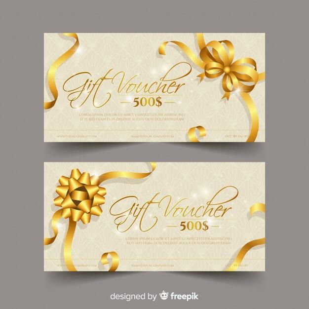 Elegant gift voucher with golden style Free Vector
