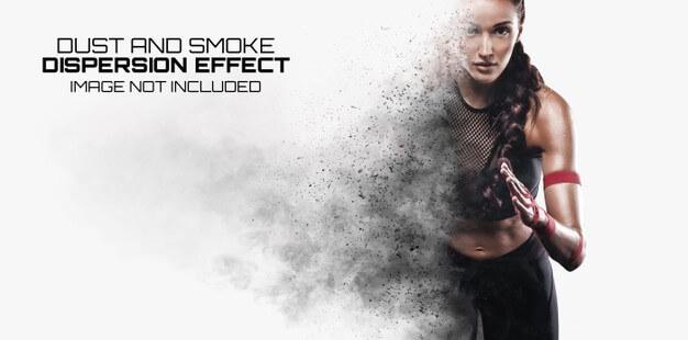 Explosion dispersion photo effect mockup Premium Psd