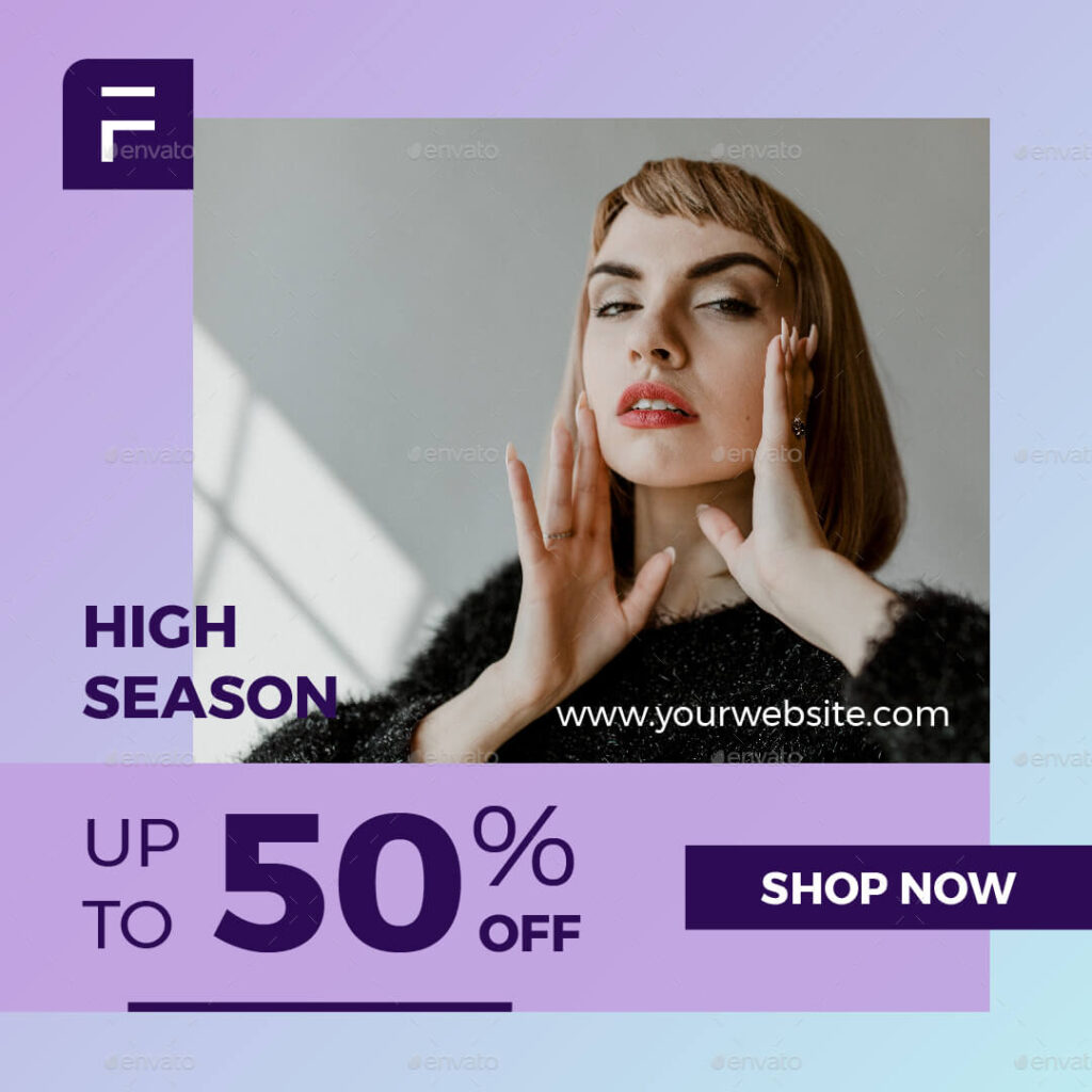 Fashion Sale Banner Social Media template collection with an elegant purple theme