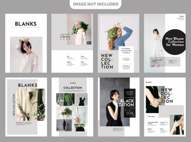 Fashion lookbook template Premium Vector