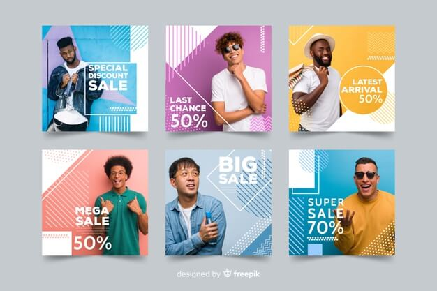 Fashion sale banner collection with photo Free Vector1