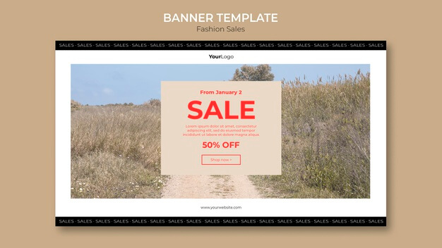Fashion sale in the field banner template Free Psd
