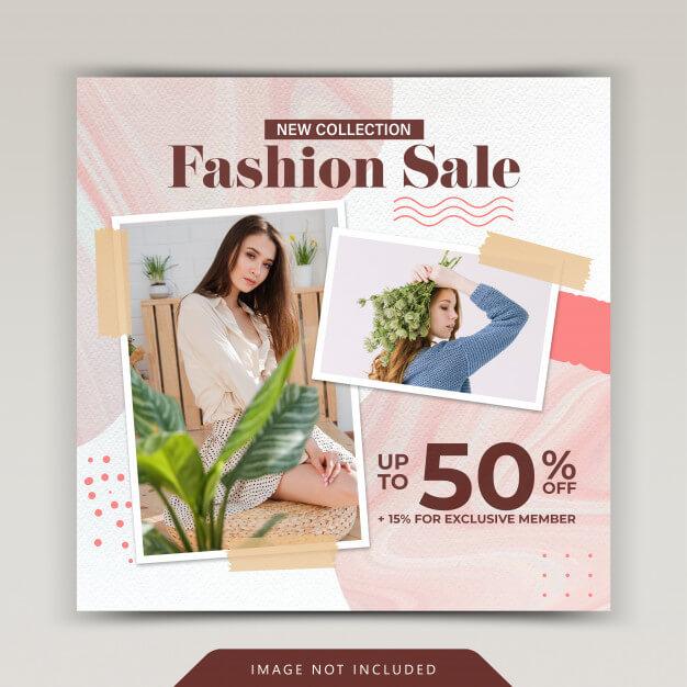 Fashion sale social media instagram post template Premium Psd