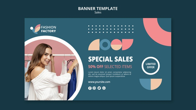 Fashion sale template banner Free Psd
