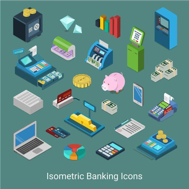 Flat 3d isometric banking financial icon set concept Free Vector