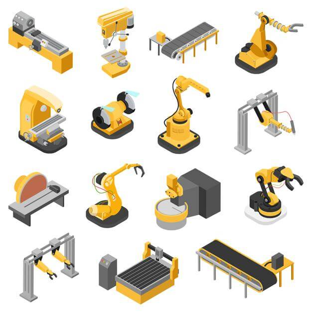 Flat 3d isometric heavy industry machinery icon set concept Free Vector