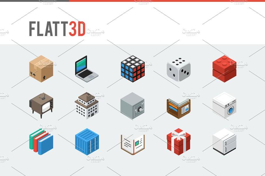 Flatt3d - Isometric Icon Pack
