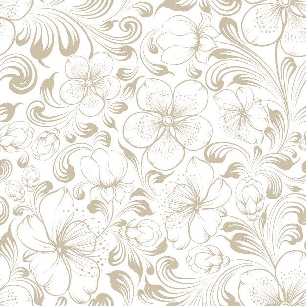 Floral seamless pattern.blooming sakura on white background. Free Vector