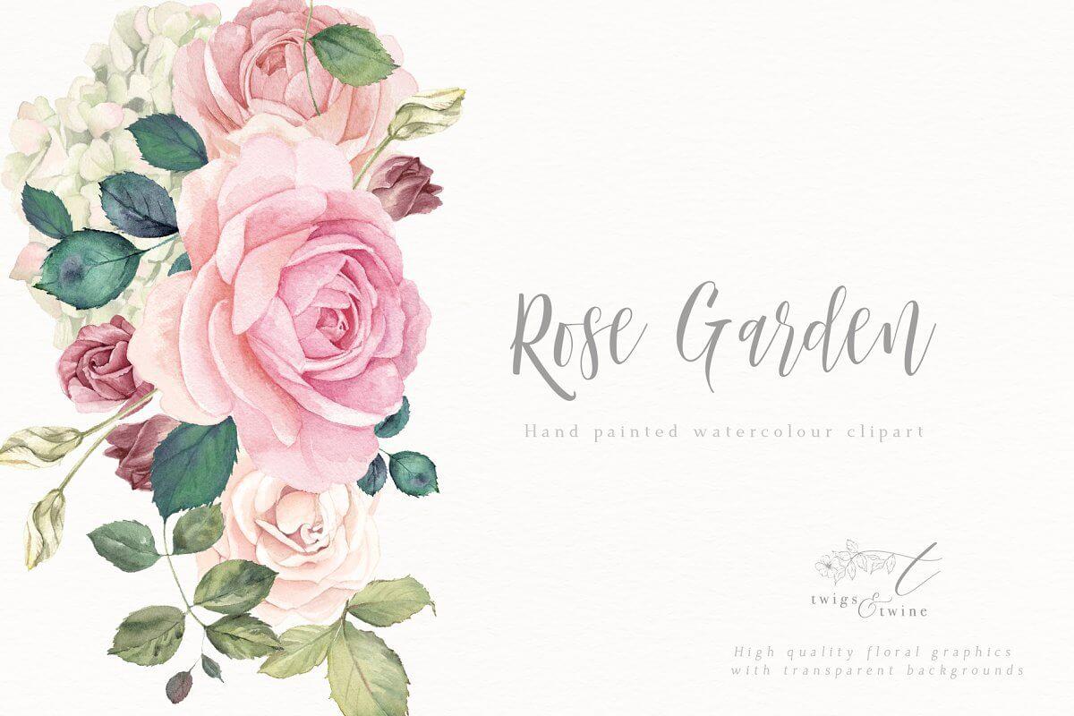 Flower Clipart Set - Rose Garden