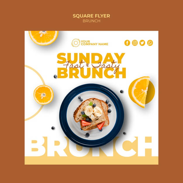 Flyer template with brunch theme Free Psd