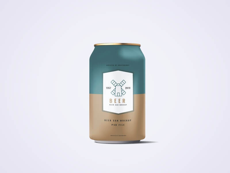 Free 330ml Soda Or Beer Can Mockup PSD Template