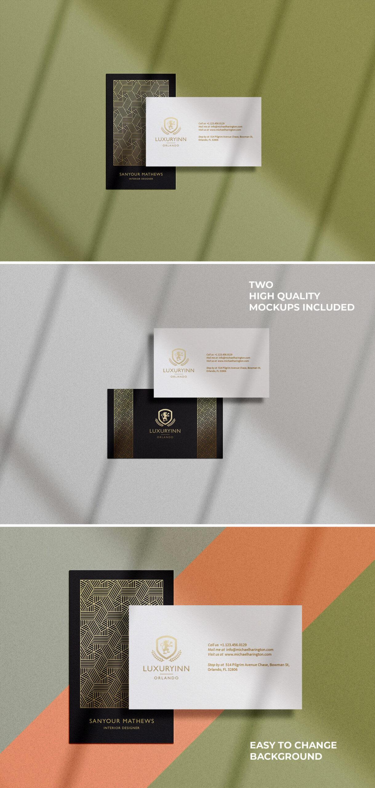 Free B&W Business Card Mockup PSD Template1