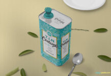 Free Beautiful Tin Can Mockup PSD Template