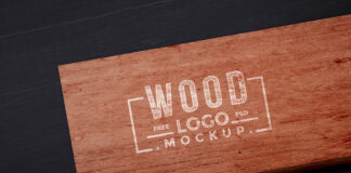 Free Brown Wood Logo Mockup PSD Template