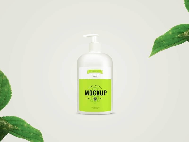 Free Changeable Pump Bottle Mockup PSD Template