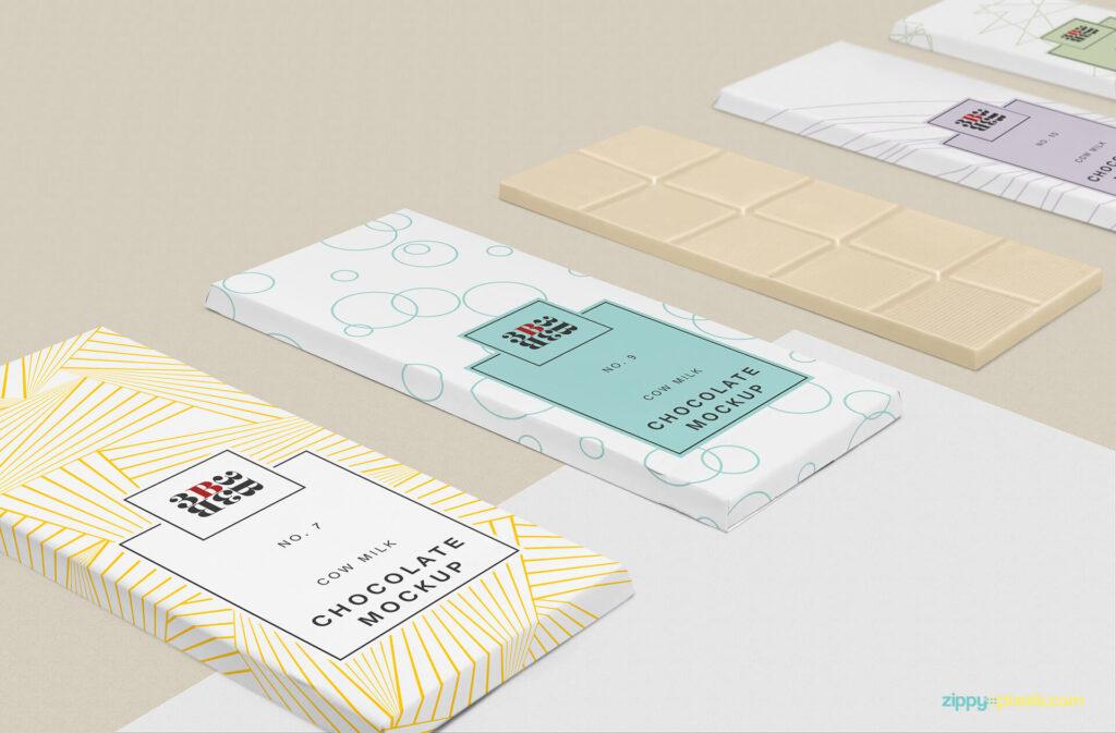 Free Cool Chocolate Bar Mockup Set PSD Template