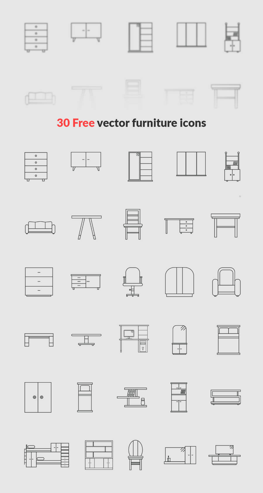 Free Designable 30+ Furniture Vector Icons