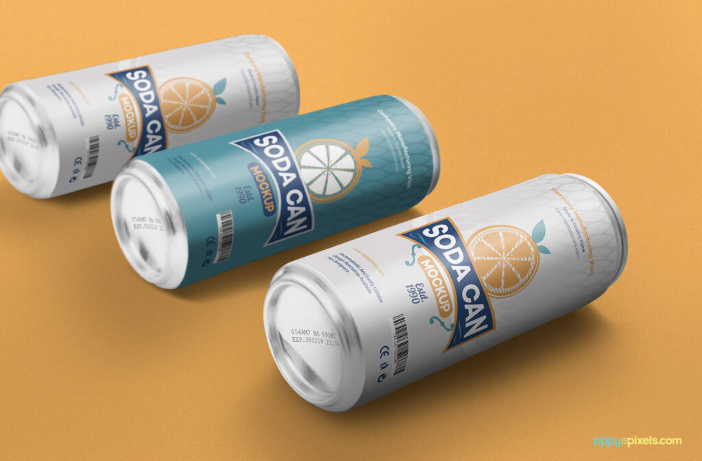 Free Designable Beverage Can Mockup PSD Template