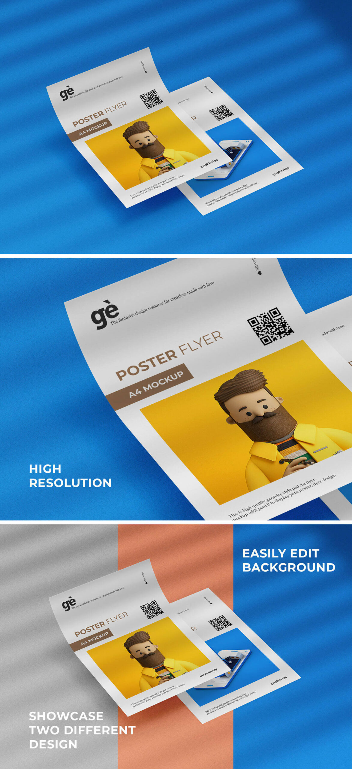 Free Double A4 Flyer Poster Mockup PSD Template1